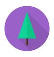 Flat Christmas Tree Circle Icon with Long Shadow vector image