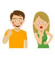 girlfriend sends air kiss to her boyfriend vector image