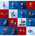 Gym Workout People Flat Set vector image