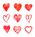 hand drawn hearts design elements for valentine vector image