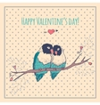 Happy Valentines day card with love birds and vector image
