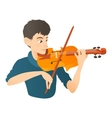 Man plays on violin icon flat style vector image