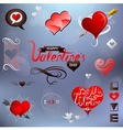 Valentines related design elements set vector image