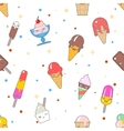 Kawaii ice-cream seamless pattern vector image