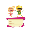 Kids Dressed As Superheroes Dancing On Lid Of Gift vector image