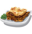 moussaka baked dish vector image