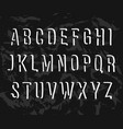 handwritten alphabet uppercase letters on black vector image