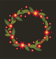 a wreath of red flowers in -style embroidery vector image