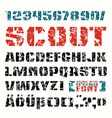 Stencil plate font in military style vector image
