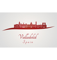Valladolid skyline in red vector image
