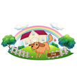 A dog playing in front of a house vector image