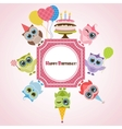 Birthday frame with owls vector image