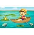 Boy in boat vector image