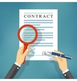 Hand checking contract with a magnifying glass vector image