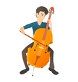 Man plays on cello icon flat style vector image