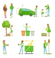 Men And Women Contributing Into Environment vector image