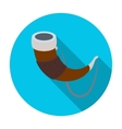 Viking horn icon in flat style isolated on white vector image