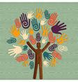 Diversity human tree hands vector image