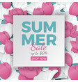 summer sale banner with paper frame and flowers vector image
