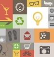Vintage style squares with icons vector image