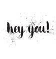handwritten calligraphic ink inscription hey you vector image vector image
