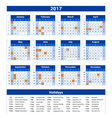 2017 Calendar - blue template of 2017 calendar vector image