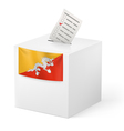 Ballot box with voting paper Bhutan vector image