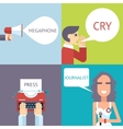Mass Media Symbol Megaphone Speech Bubble Cry Man vector image