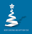 Simple christmas tree made from paper stripe vector image vector image