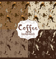 Collection of four seamless coffee patterns brown vector image
