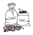 Two sacks with coffee and coffee beans vector image vector image