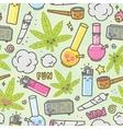 Marijuana kawaii cartoon seamless vector image