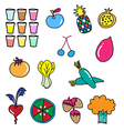 colorful vegetable fruit drawing vector image