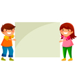 Kids with placard vector image