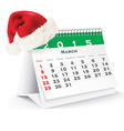 March 2015 desk calendar with Christmas hat vector image