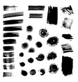 set of black paint brush spots vector image