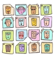 Sketch emoticons stickers set vector image