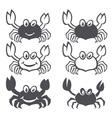 Crab sea food icon smile flat set vector image