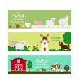 Farm animals flat style banner templates vector image