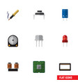 flat icon electronics set of coil copper resist vector image