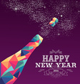 Happy new year 2016 color triangle champagne vector image