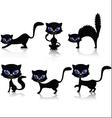 black cat cartoon collection vector image vector image