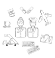Air traveling and aviation icons set vector image