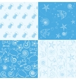 Sea life seamless patterns collection vector image