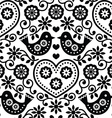 Folk art seamless monochrome pattern with flowers vector image