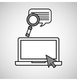 hand draw laptop search chat social network media vector image
