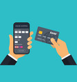 hand with credit card for payment mobile payment vector image