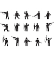 Pictogram people with hunting guns vector image
