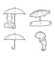 umbrella icon set outline style vector image