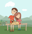 girl and boy with mops vector image